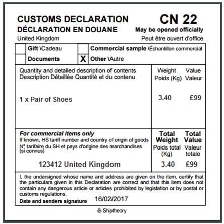 CN 22 declaration form