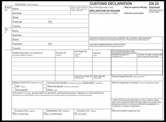CN 23 declaration form